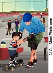 zoon, onderwijs, zijn, vader, skateboarding