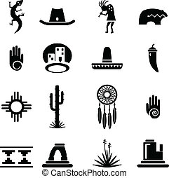 zuidwesten, set, iconen