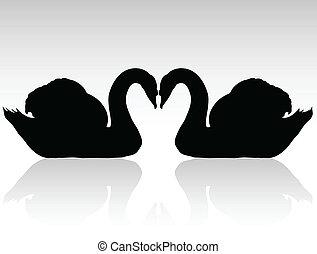 zwanen, silhouettes, vector, black , twee