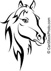 zwart paard, silhouette