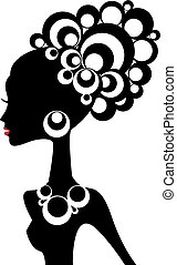 zwarte vrouw, vector