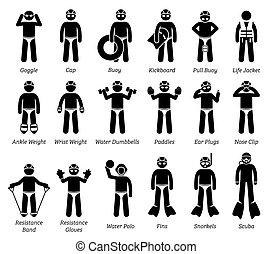zwemmen, figuur, pictogram., uitrusting, stok, toestellen, iconen
